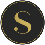 Black circle banner with gold letter S