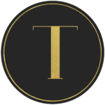 Black circle banner with gold letter T