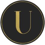 Black circle banner with gold letter U