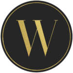 Black circle banner with gold letter W