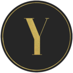 Black circle banner with gold letter Y