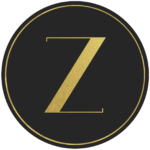 Black circle banner with gold letter Z