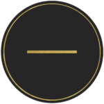 Black circle banner with gold symbol -