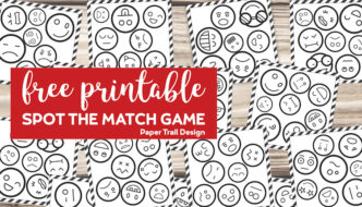 Emoji faces on cards that make a spot the match game with text overlay- free printable spot the match game
