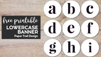 Lowercase circle banner letters a, b, c, d, e, f, g, h, & i with text overlay- free printable lowercase banner