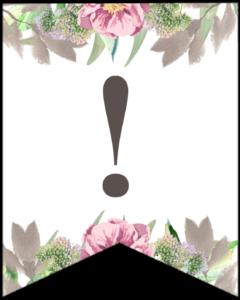 Symbol ! free printable floral banner flag.