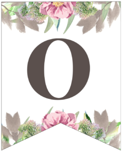 Number 0 free printable floral banner flag.
