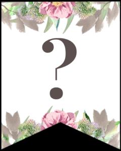 Symbol ? free printable floral banner flag.
