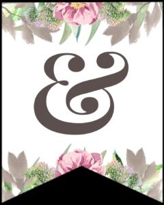 Symbol & free printable floral banner flag.
