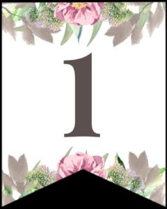 Number 1 free printable floral banner flag.