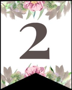 Number 2 free printable floral banner flag.