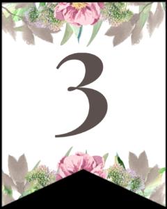 Number 3 free printable floral banner flag.
