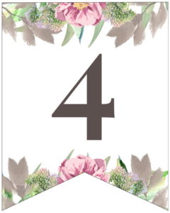 Number 4 free printable floral banner flag.