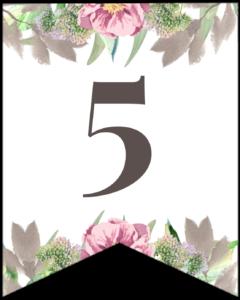 Number 5 free printable floral banner flag.