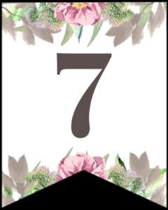 Number 7 free printable floral banner flag.