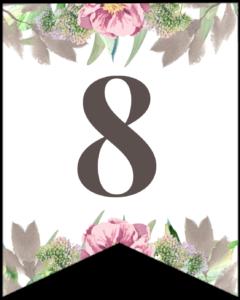 Number 8 free printable floral banner flag.