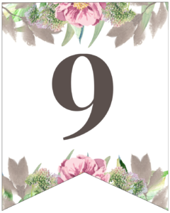 Number 9 free printable floral banner flag.