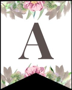 Letter A free printable floral banner flag.