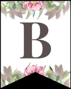 Letter B free printable floral banner flag.