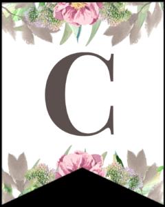 Letter C free printable floral banner flag.
