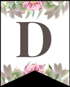 Letter D free printable floral banner flag.