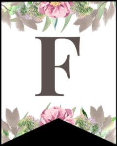 Letter F free printable floral banner flag.
