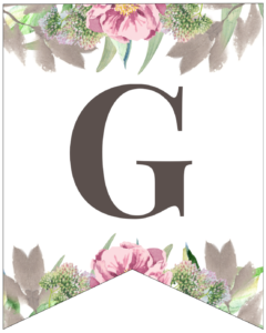 Letter G free printable floral banner flag.
