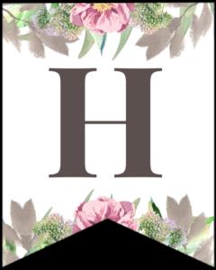 Letter H free printable floral banner flag.