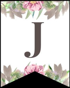 Letter J free printable floral banner flag.