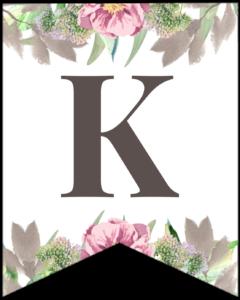 Letter K free printable floral banner flag.