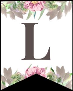 Letter L free printable floral banner flag.