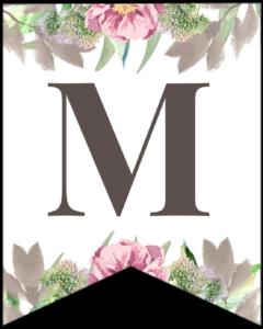 Letter M free printable floral banner flag.