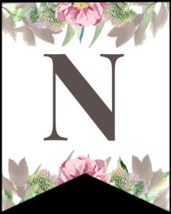Letter N free printable floral banner flag.