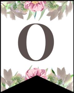 Letter O free printable floral banner flag.