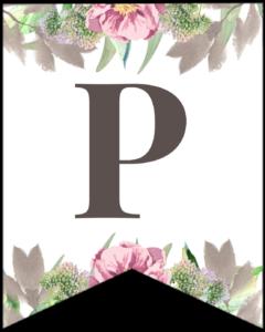 Letter P free printable floral banner flag.