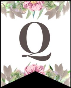 Letter Q free printable floral banner flag.
