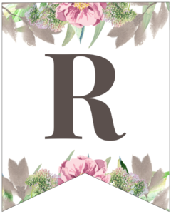 Letter R free printable floral banner flag.
