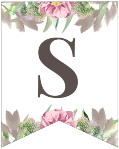 Letter S free printable floral banner flag.