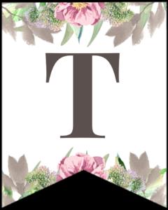 Letter T free printable floral banner flag.