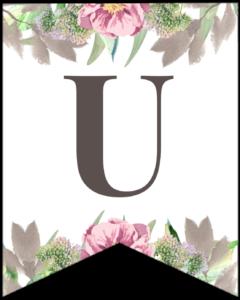 Letter U free printable floral banner flag.