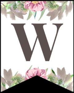 Letter W free printable floral banner flag.