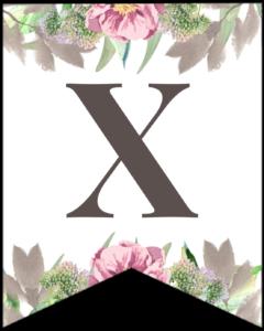 Letter X free printable floral banner flag.