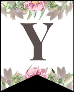 Letter Y free printable floral banner flag.