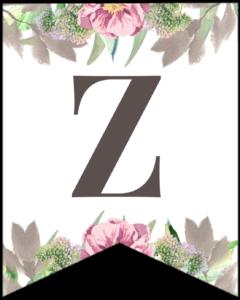 Letter Z free printable floral banner flag.