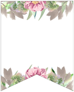Blank free printable floral banner flag.