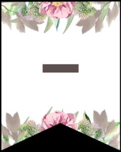 Symbol - free printable floral banner flag.