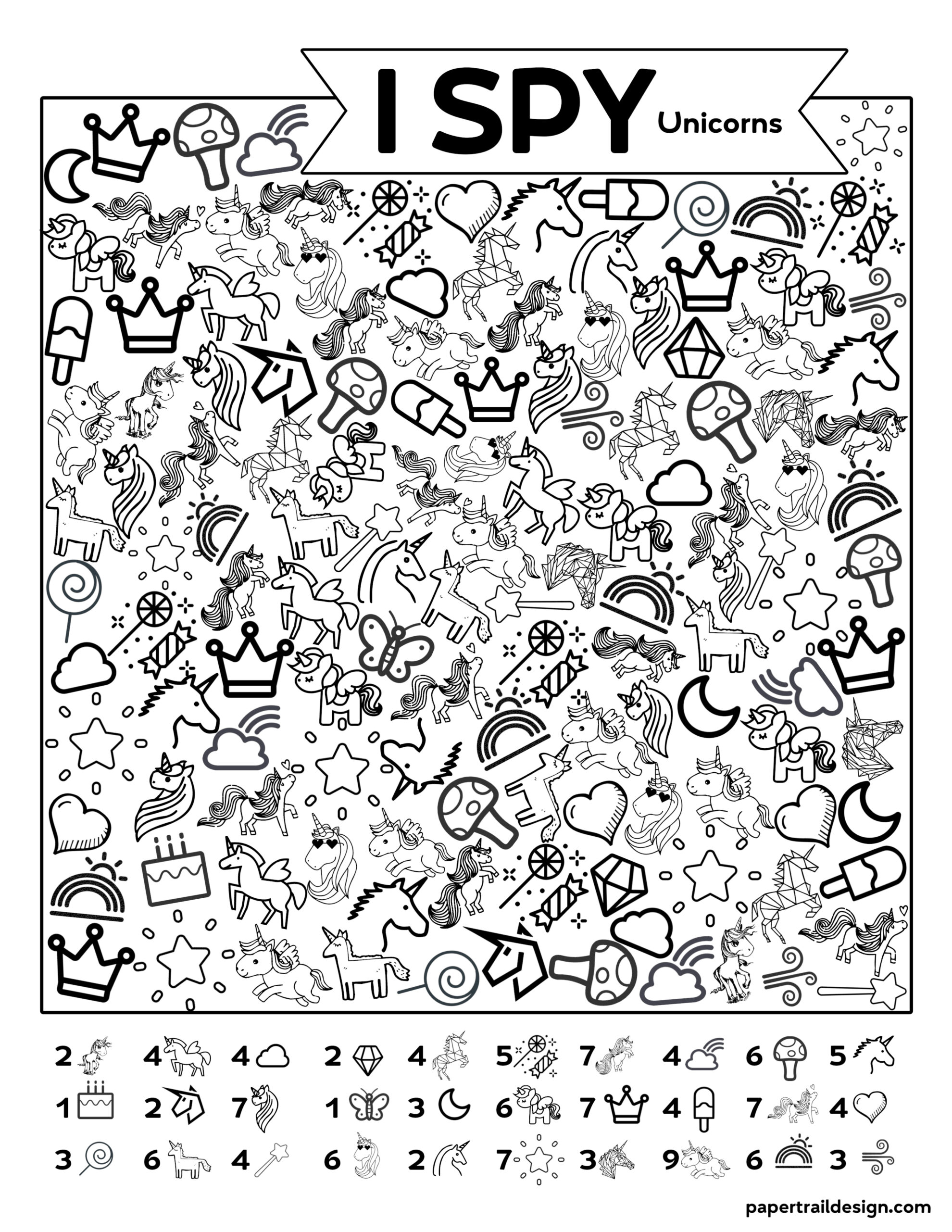 Free Printable I Spy Unicorn Activity Paper Trail Design