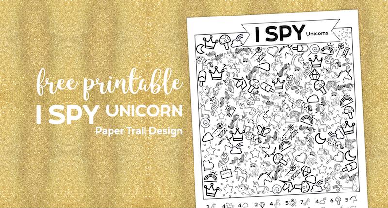 Unicorn I spy activity page printable on a gold background with text overlay- free printable I spy unicorn