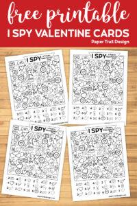 Four I spy themed valentine cards with text overlay- free printable I spy valentine cards.