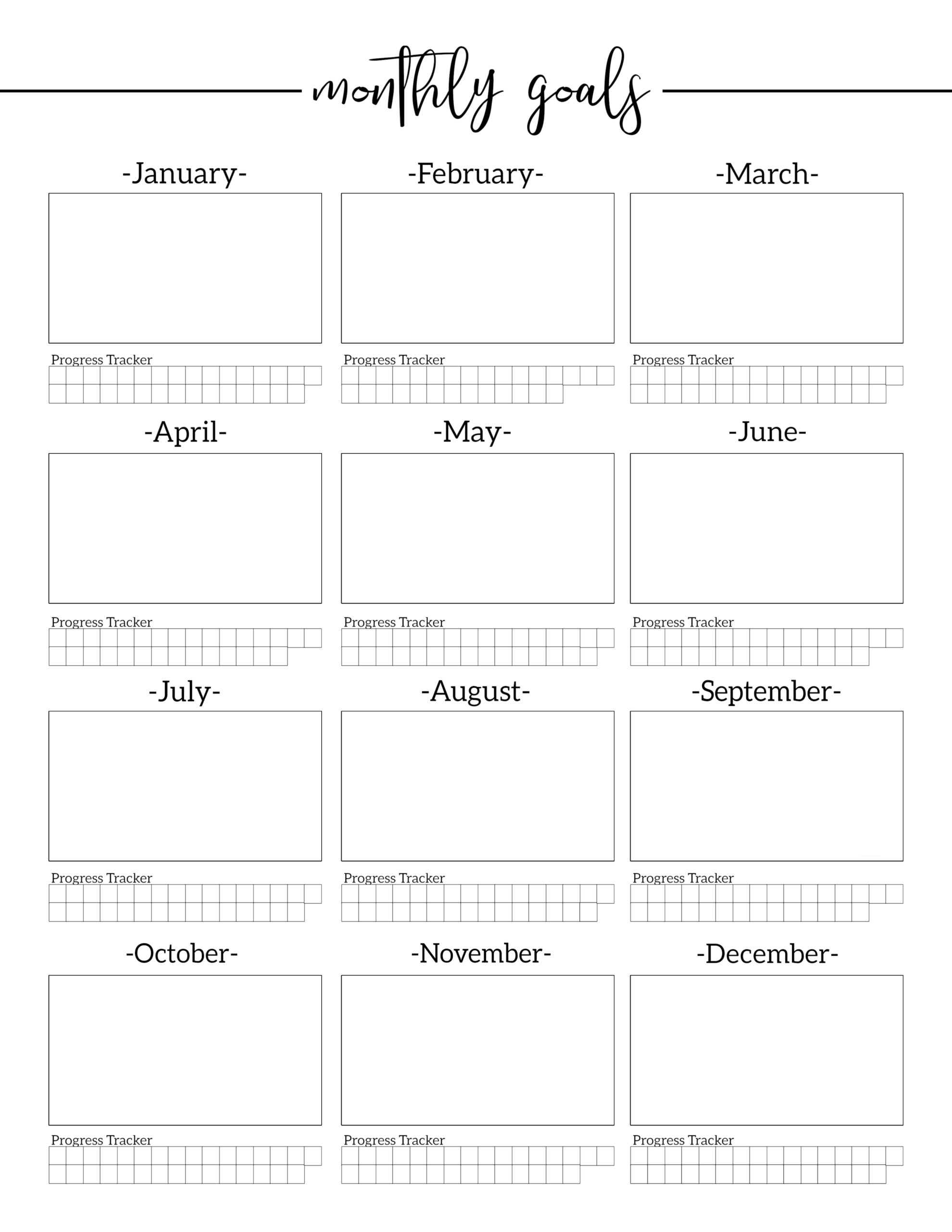 Monthly Goal Setting Worksheet With Progress Tracker Paper Trail Design